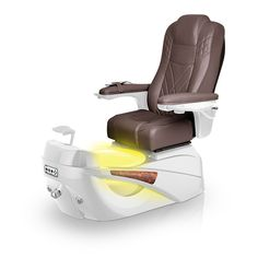 Luminous pedi-spa shown in Walnut Ultraleather cushion, White Pearl base, Aurora LED Color-Changing bowl (shown in yellow)
