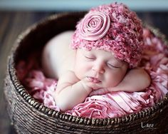 Baby Girl Hat, Newborn Baby Girl  Flower Crochet Hat in Pink, I know she will be just this cute!
