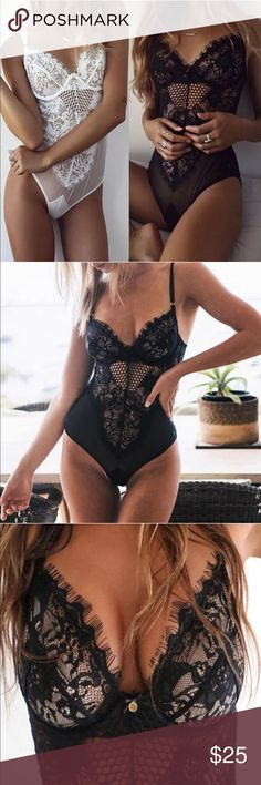 Sexy Black Lace Bodysuit/Lingerie Super Sexy Black Lace Bodysuit/Lingerie. Brand new! Pretty lace bodice. Adjustable straps. No underwire. Very soft lace. Sizing of cups best suited for A-C. No tags as they come directly from maker in sealed packaging. Intimates & Sleepwear