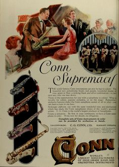 Conn Band Instruments 1922  I want a lavender saxophone.
