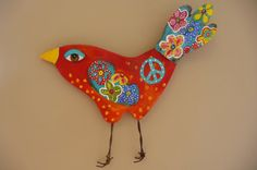 Peace Bohemian Bird Springtime Decor Repurposed Art