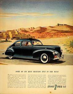 1940 Ad Lincoln Motors Zephyr V-12 Car Taos New Mexico
