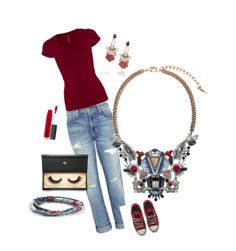 Burgundy + jeans outfit via Polyvore and chloe+isabel  https://www.chloeandisabel.com/boutique/lovealwayse
