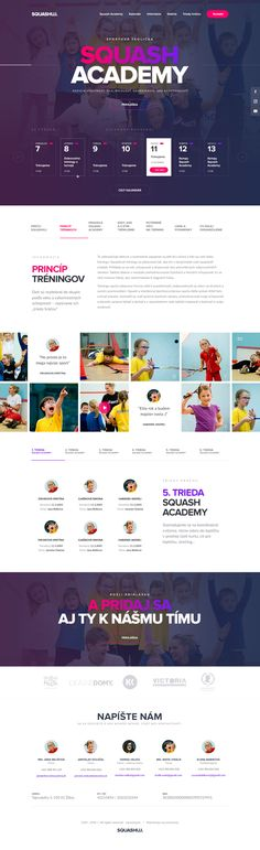 One page design for Squash Academy