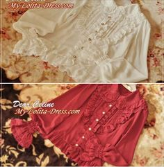 Short Notice: ★Only 2★ Dear Celine™ Peter Pan Lace Collar Lolita Blouses LEFT >>> http://www.my-lolita-dress.com/dear-celine-turndown-collar-lolita-blouse