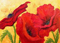 Red poppies, golden yellow, giant poppies, oil painting, home decorating, interior design, rich colors, doitfortheprocess, luxury, love, live, art,