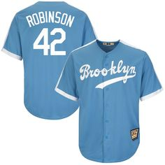 ae8b3c18b3cf Jackie Robinson Brooklyn Dodgers Majestic Cool Base Cooperstown Collection  Player Jersey - Light Blue