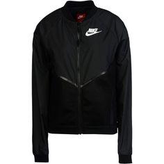 Nike Jacket ($130) ❤ liked on Polyvore featuring outerwear, jackets, black, nike jackets, long sleeve jacket, logo jackets, multi pocket jacket and single breasted jacket