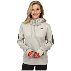 adidas Beyond The Run Climaheat Pullover Hoodie Women's Sweatshirt ($100) ❤ liked on Polyvore featuring activewear, activewear tops, white pullover, sweater pullover, logo sportswear, adidas activewear and adidas sportswear