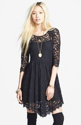 Free People Floral Mesh Fit & Flare Dress