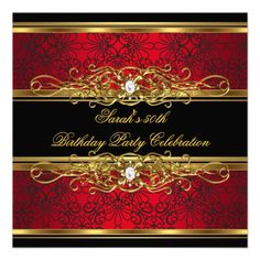 Elegant 50th Birthday Party Red Black Gold Damask Personalized Announcements