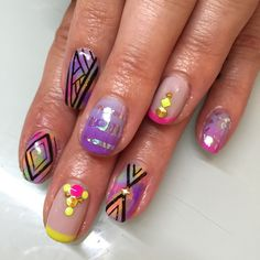 Birthday nails for Janelle  #nails #nailart #gelnails #happybirthday #sparklesf #ombre #geometric