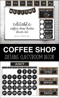 Coffee themed classroom decor by Samantha Henry! Perfect for transforming your classroom into a learning cafe! Coffee themed classroom decor by Samantha Henry! Perfect for transforming your classroom into a learning cafe! Middle School Classroom, Classroom Setup, Classroom Design, Future Classroom, Classroom Organization, Classroom Management, Highschool Classroom Decor, Classroom Door, Coffee Shop