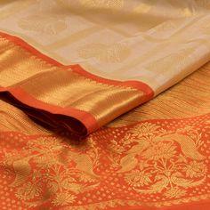 Handwoven Cream Korvai Kanjivaram Silk Saree With Checks & Iruthalaipakshi Motifs 10013078