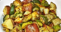 Great recipe for Roasted Zucchini and Red Potatoes. Tonight I was starving and had to come up with something quick and easy because my twins were feeling restless. So I decided to roast some red potatoes and zucchini. It's an easy no-fail recipe!
