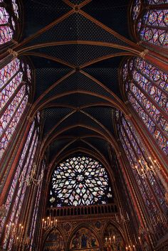 Sainte-Chapelle upper chapel ceiling and stained glass windows