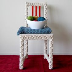 yarn-bombed chair