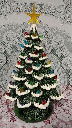 "Ceramic Christmas Tree Lighted 14"" Nowell Vintage Mold - Green Flocked - Musical"