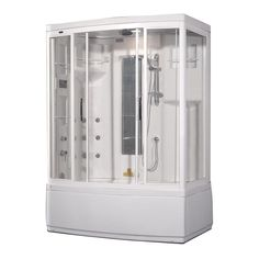 59 Inch x 36 Inch x 86 Inch Steam Shower Enclosure Kit with Whirlpool Bath with 9 Body Jets in White with Left Hand