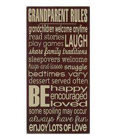 Brown & Cream Grandparent Rules Wall Art by Vinyl Crafts #zulily #zulilyfinds