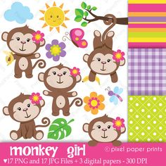 """This is a set of 17 PNG files with transparent background, 17 JPG FILES and 3 different digital paper designs. The digital papers are 8.5""""x11"""" JPG files. All these files are watermark-free."""