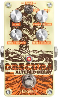 Digitech Obscura Four Unique Delay Types: - ANALOG - Classic sound of a vintage bucket brigade analog delay circuit - TAPE - Emulates a classic tube tape echo - Lo-Fi - A low-fidelity delay that has l