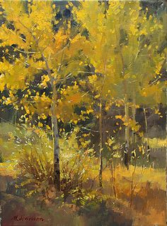 Meadow Aspens by Marc Hanson Oil ~ 16 x 12