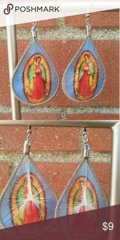 SALE**Virgin of Guadalupe Tear-Drop Earrings Threaded tear- drop earrings - lets you express your creative side with beautiful colors and exotic imagery. Jewelry Earrings