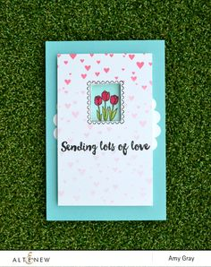 Sending lots of love by @aimesgray. Interactive card using @Altenew's Happy Mail stamp set #stamping #interactive #interactivecard #flowers