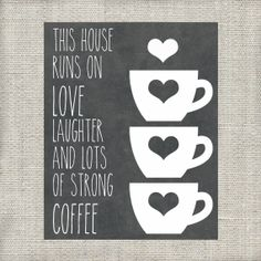 This House Runs on Love Laugther and Lots of Strong Coffee Kitchen Printable - Instant Download