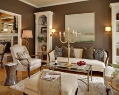 Brown Walls With Cream trim-Chocolate brown sable by sherwin Williams, love the wall color and floors!