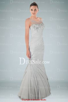 Alluring Illusion Neckline Pleated Evening Dress Featuring Appliques and Intricate Pleats