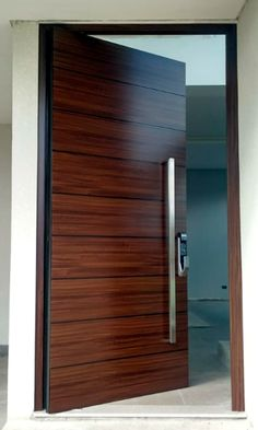 Modern Entrance Door, Main Entrance Door Design, Wooden Front Door Design, Modern Wooden Doors, Modern Exterior Doors, Modern Door, House Main Door Design, Flush Door Design, Single Door Design