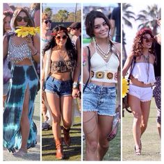 Vanessa Hudgens at Coachella in past years. Boho Hippie, Hippie Style, Estilo Hippie, Cochella Outfits, Rave Outfits, Festival Looks, Festival Style, Festival Outfits, Festival Fashion