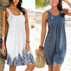 Women Printed Pleated Sleeveless Casual Dress - Casual Dresses - Ideas of Casual Dresses Casual Formal Dresses, Trendy Dresses, Simple Dresses, Elegant Dresses, Sexy Dresses, Short Dresses, Casual Outfits, Dresses For Work, Fashion Outfits