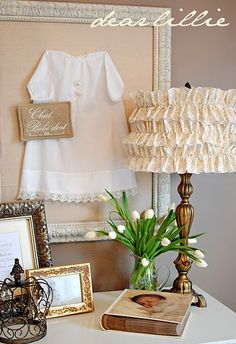 Pretty Shabby Chic Lightshade with Vintage Baby Outfit