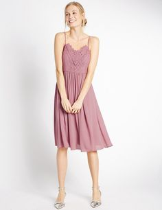 3ace9c2b669 Floral Lace Strap Swing Dress. Maxi Bridesmaid ...