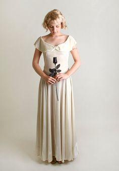 1930s White Velvet Gown  Vintage Ivory Winter Wedding by zwzzy, $220.00