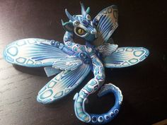 Blue Storm baby Hair Pin Dragon by MakoslaCreations on Etsy, $65.00