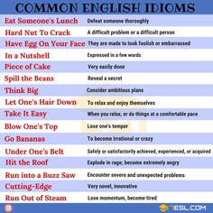 What is an idiom? Learn idiom definition, common idioms list and popular sayings in English with meaning, idiom examples and ESL pictures. These idiomatic expressions can be used to improve your English speaking and writing. English Idioms List, English Phonics, Learn English Grammar, English Language Learning, English Phrases, Learn English Words, English Writing, English Lessons, English Study