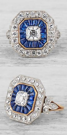 Tiffany & Co. - An Art Deco gold, platinum, diamond and sapphire ring, circa 1920. Centring upon an Asscher-cut diamond with a baguette-cut sapphire surround and a halo of 20 old European-cut diamonds. Set in platinum and 18K gold. Signed Tiffany & Co. #Tiffany #ArtDeco