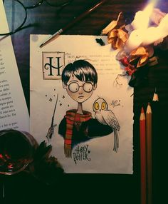 No photo description available. Arte Do Harry Potter, Theme Harry Potter, Harry Potter Drawings, Harry Potter World, Arte Tim Burton, Tim Burton Art Style, Desenhos Tim Burton, Tim Burton Drawings, Art Sketches
