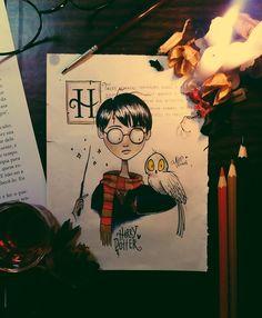 No photo description available. Arte Do Harry Potter, Theme Harry Potter, Harry Potter Drawings, Harry Potter World, Arte Tim Burton, Tim Burton Art Style, Tim Burton Drawings, Tim Burton Artwork, Desenhos Tim Burton