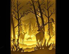 Silhouette deer forest paper cut Light box Night by trysogodar