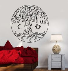 Vinyl Wall Decal Celtic Tree Of Life Symbol Nature Fairies Sun Moon Stickers Unique Gift Simple Wall Paintings, Wall Painting Decor, Tree Of Life Symbol, Celtic Tree Of Life, Pintura Hippie, Nature Symbols, Wall Stencil Patterns, Chalk Wall, Wall Drawing