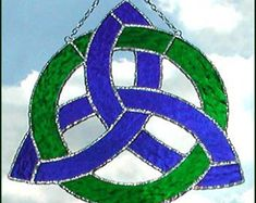 stained glass sun catcher blue green celtic knot design sun ...