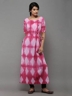 Description: A beautiful pink tie and dye kurti with waist strings and tassels. Length of the garment is Note : Colors and tie dye patterns may vary sligh Salwar Designs, Kurti Designs Party Wear, Casual Dresses, Fashion Dresses, Tie Dye Fashion, Kurti Patterns, Tie Dye Dress, Textiles, Indian Designer Wear