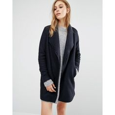 Vero Moda Belted Coat (490 CNY) ❤ liked on Polyvore featuring outerwear, coats, navy, tall coats, belt coat, navy blue coat, vero moda coat and belted coat