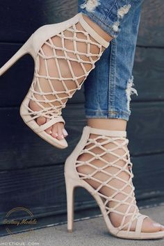 aa14f7c798dc Nude   Blush Strappy Caged Knotted Open Toe Bootie Heel Sandals