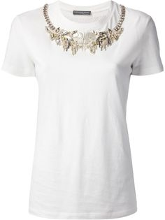 White Embellished Shortsleeve Shirt by Alexander McQueen. Buy for $675 from farfetch.com